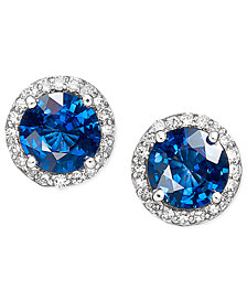 Velvet Bleu by EFFY Diffused Sapphire (2 ct. t.w.) and Diamond (1/5 ct. t.w.) Circle Stud Earrings in 14k White Gold, Created for Macy's
