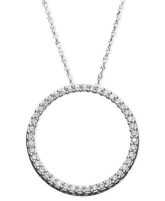 Diamond Eternity Circle Pendant Necklace In Sterling
