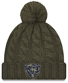 New Era Women's Chicago Bears Salute To Service Pom Knit Hat