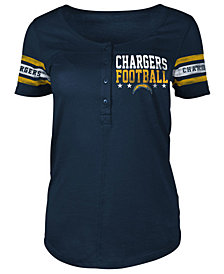 5th & Ocean Women's Los Angeles Chargers Short Sleeve Button Down T-Shirt