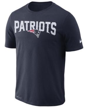 Nike Men's New England Patriots Dri-fit Cotton Essential Wordmark T-Shirt