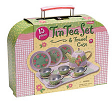 Schylling Childrens Tin Tea Set In Case