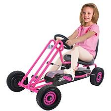 Lightning Ride On Pedal Go Kart Pink