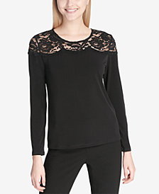 Calvin Klein Lace-Yoke Top