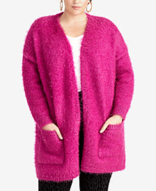 RACHEL Rachel Roy Plus Size Fuzzy Cardigan, Created for Macy's