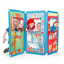 Fun2Give Pop It Up Zig Zag Puppet Theatre With 4 Hand Puppets