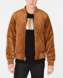 GUESS Men's Quilted Velvet Bomber Jacket