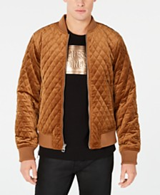 75a867469c GUESS Men s Quilted Velvet Bomber Jacket