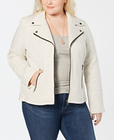 Style & Co Plus Size French-Terry Moto Jacket, Created for Macy's