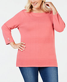 Karen Scott Plus Size Cotton Pointelle Sweater, Created for Macy's
