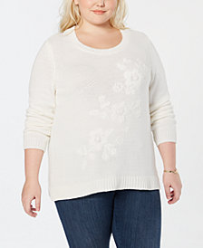 Style & Co Plus Size Tonal Flower-Embroidered Sweater, Created for Macy's