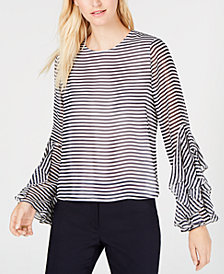 Tommy Hilfiger Striped Flutter-Sleeve Top, Created for Macy's