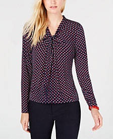 Tommy Hilfiger Printed Twist-Neck Top, Created for Macy's