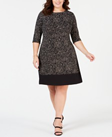 3fdde8e2a76f3 Connected Plus Size Printed A-Line Dress