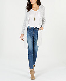 Style & Co Textured Open Front Long Cardigan, Created for Macy's