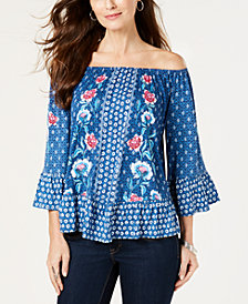 Style & Co Petites Printed Off-The-Shoulder Top, Created for Macy's