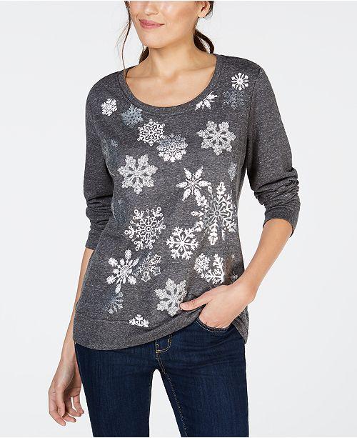 01196da8a245 ... Style   Co Snowflake Graphic-Print Sweatshirt