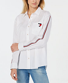 Tommy Hilfiger Heart Logo Striped-Sleeve Shirt, Created for Macy's