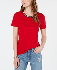 Tommy Hilfiger Debossed Flag Logo T-Shirt, Created for Macy's