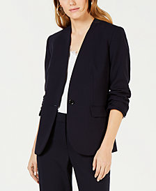 Bar III Stand Collar One-Button Jacket, Created for Macy's