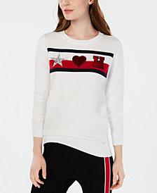Tommy Hilfiger Cotton Embellished-Patch Sweater, Created for Macy's
