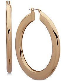 DKNY Gold-Tone Flat Tube Hoop Earrings