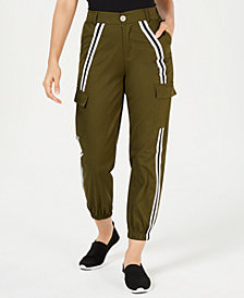 Waisted Side-Striped Cargo Pants