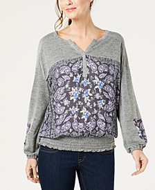 Style & Co Smocked Printed Top, Created for Macy's