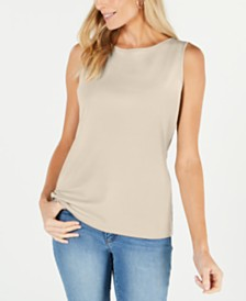 Karen Scott Boat-Neck Cotton Tank Top, Created for Macy's