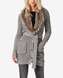 Jessica Simpson Juniors' Annie Faux Fur-Trim Cardigan