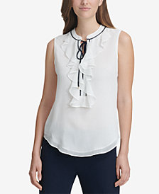 Tommy Hilfiger Sleeveless Ruffle-Neck Tie-Front Blouse