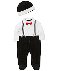 Little Me Baby Boys Footed Suspenders Coverall With Hat