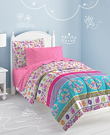 Dream Factory Peace & Love Full Comforter Set