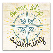 Never Stop Exploring Printed Canvas