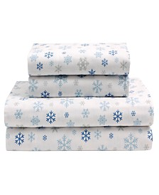 Winter Nights Cotton Flannel Twin Print Sheet Set