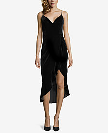 XSCAPE Velvet Asymmetrical-Hemline Sheath Dress