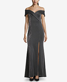 XSCAPE Off-The-Shoulder Glitter Gown