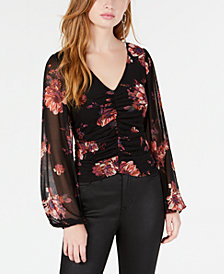 American Rag Juniors' Ruched Sheer-Sleeve Top, Created for Macy's
