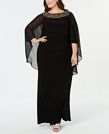 XSCAPE Plus Size Chiffon-Cape Embellished Gown