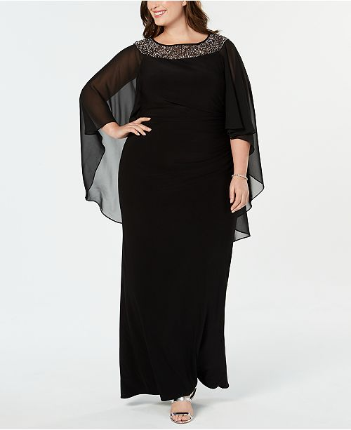 XSCAPE Plus Size Chiffon-Cape Embellished Gown ...