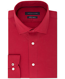 Tommy Hilfiger Men's Slim-Fit TH Flex Performance Stretch Non-Iron Red Dress Shirt