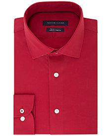 Tommy Hilfiger Men's Slim-Fit TH Flex Performance Stretch Non-Iron Red Dress Shirt
