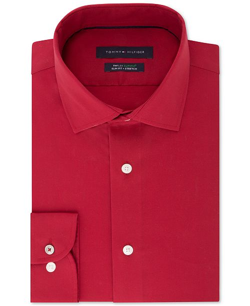 b1759f64 ... Tommy Hilfiger Men's Slim-Fit TH Flex Performance Stretch Non-Iron Red  Dress ...