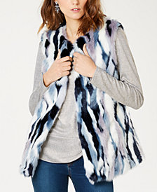 I.N.C. Petite Faux-Fur Patchwork Vest, Created for Macy's