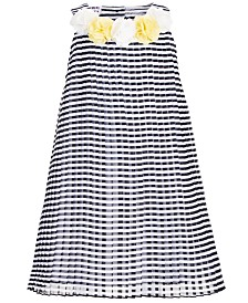 Blueberi Boulevard Toddler Girls Pleated Striped Dress