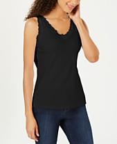 7042106f04 Karen Scott Cotton Lace-Trim Tank Top, Created for Macy's