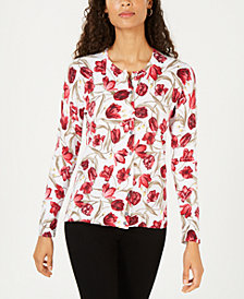 Karen Scott Tulip-Print Cardigan, Created for Macy's