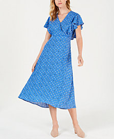 Maison Jules Printed Wrap Maxi Dress, Created for Macy's