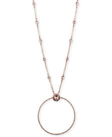 "Givenchy Rose Gold-Tone Crystal Open Circle 32"" Pendant Necklace"