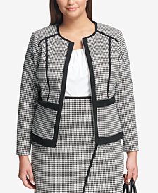Calvin Klein Plus Size Houndstooth Jacket